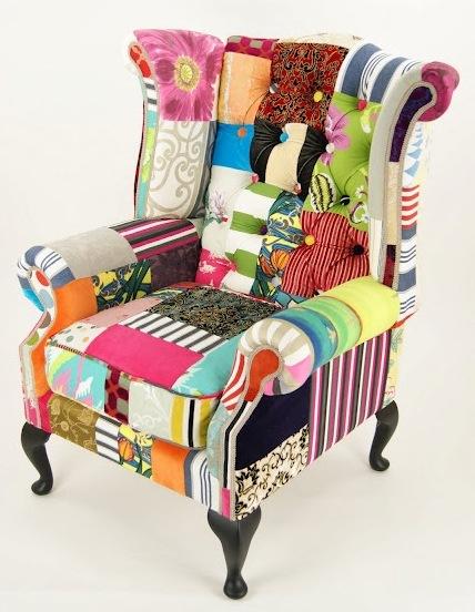 Sill n orejero en capiton mod ovidio tapiz en patchwork for Sillones orejeros tapizados